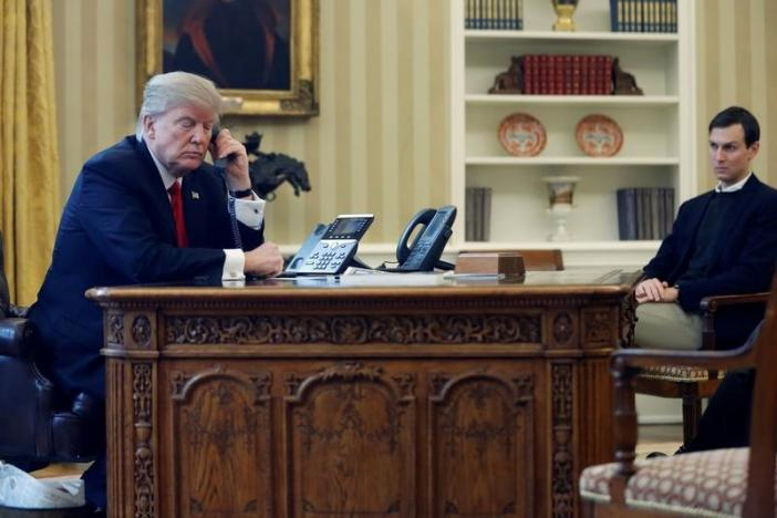 Trump, joined by Kushner, speaks by phone with the Saudi Arabia's King in the Oval Office at the White House