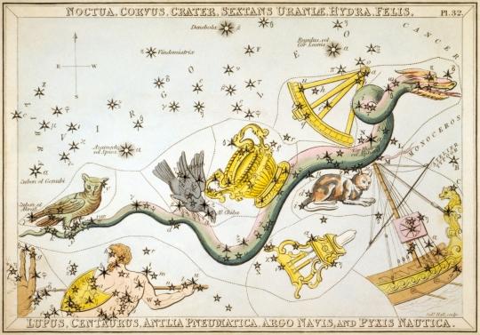 Sidney_Hall_-_Urania's_Mirror_-_Noctua,_Corvus,_Crater,_Sextans_Uraniæ,_Hydra,_Felis,_Lupus,_Centaurus,_Antlia_Pneumatica,_Argo_Navis,_and_Pyxis_Nautica