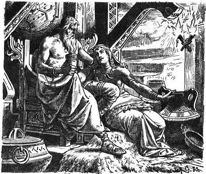 Johannes_Gehrts Odin with Gunnlöd (1901Odin and Gunnloo by Johannes Gehrts