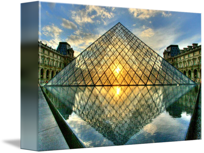 Summer-Reflective-Sunset-at-the-Louvre-Pyramid_art